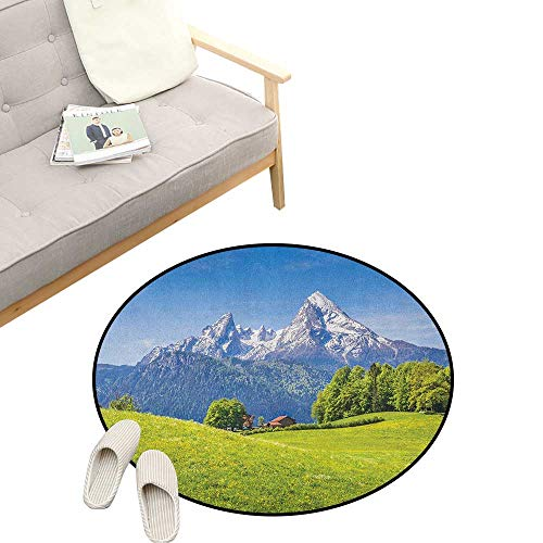 Nature Round Rug ,Pastoral Landscape in Alps with Meadow and Flowers Northern German Heaven Print, Flannel Microfiber Non-Slip Soft Absorbent 39