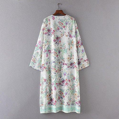 HARRYSTORE Las mujeres de moda de manga larga impresas chal de Kimono Cardigan Tops cubrir la blusa Blanco