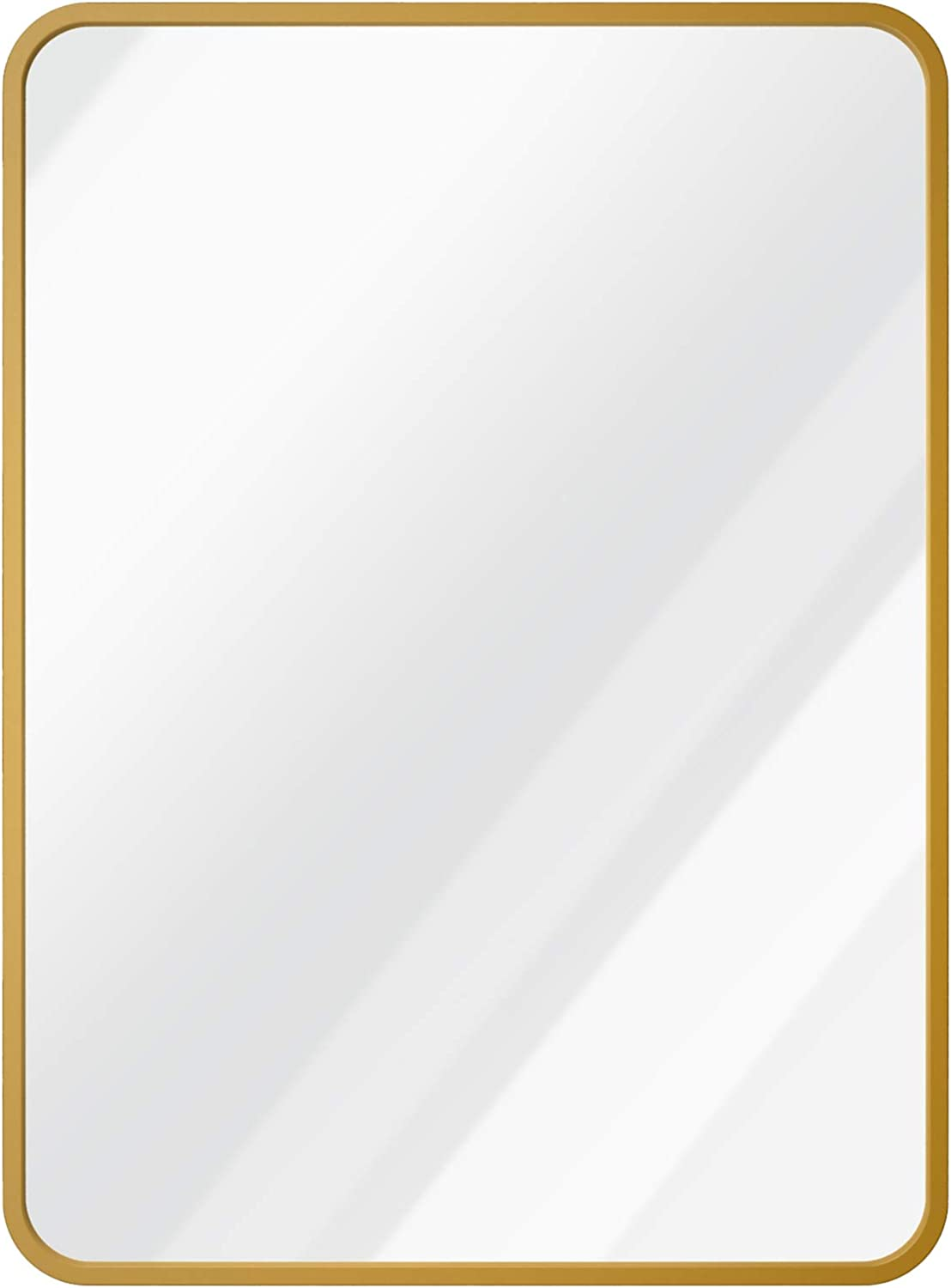 """USHOWER 24"""" x 36"""" Gold Rectangle Wall Mirror, Large Metal Frame Decor Mirror for Bathroom, Entryway, Vanity, and More, Rounded Corner, Farmhouse & Modern Style"""