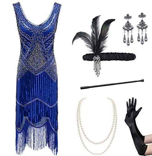 Rhinestone Fringe Necklace - Coucoland Womens 1920s Flapper Sequin Beads Dress with Roaring 20s Gatsby Accessories Set for Party (Blue, XL)