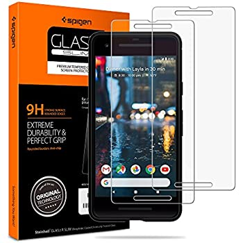 the best attitude 1204e fe799 Spigen Tempered Glass Pixel 2 Screen Protector [ Case Friendly ] [ 9H  Hardness ] for Google Pixel 2 (2017) (2 Pack)