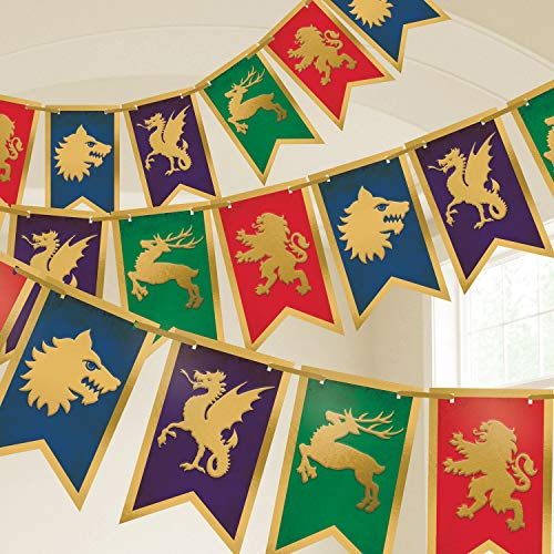Amscan International Amscan 120404 Decoration Pennant Banner Printed 1 Each Medieval ()
