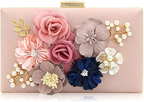 Milisente Evening Bag for Women, Flower Wedding Evening Clutch Purse Bride Floral Clutch Bag(Light Pink)