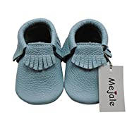 Mejale Baby Soft soled Leather Moccasin Tassel Slip On Infant Toddler Shoes Pre-Walker(Sky Blue,3-6 Months)