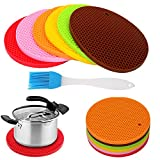 Jiaoyabuy 6pcs Multipurpose Extra Thick Silicone Trivet Hot Mat, Insulation Pads, Pots and pans Mat, Spoon Rest, Bar Mat, Coasters, Jar Opener, for Home, Kitchen Utensils, Dining Usage(Brush Gift)