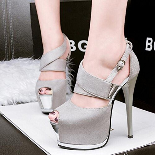Suede Women'S White Heels Waterproof Mouth Dance High Table Hollow Sandals Fish Fine With aROqa