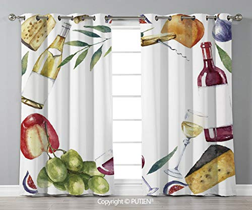 - Grommet Blackout Window Curtains Drapes [ Wine,Round Frame with Hand Painted Food Objects Watercolor Wine Cheese Fruits Collection Decorative,Multicolor ] for Living Room Bedroom Dorm Room Classroom K