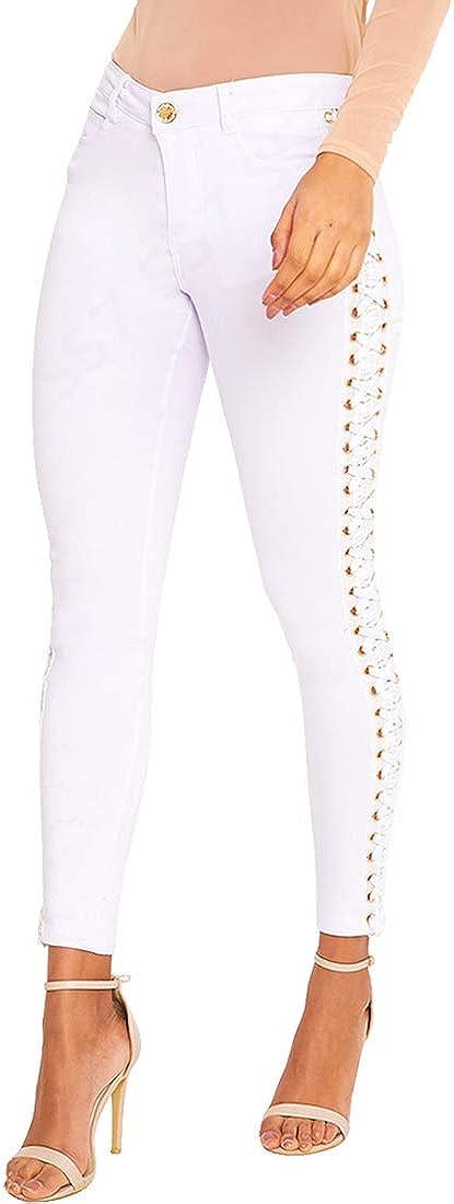 Blanc Sizes 6 pour 14 Noir SS7 nouvelles femmes Lacet /œillet Jeans Coupe Skinny Pantalon