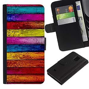 [Neutron-Star] Modelo colorido cuero de la carpeta del tirón del caso cubierta piel Holster Funda protecció Para Samsung Galaxy S5 Mini (Not S5), SM-G800 [Textura de madera Líneas Horizontal Colorido]