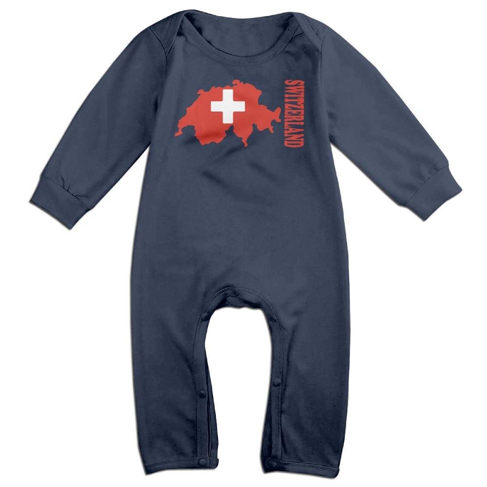 Mri-le1 Baby Boy Long Sleeve Jumpsuit Switzerland Flag Map Infant Long Sleeve Romper Jumpsuit