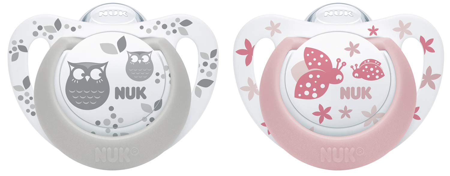 Suitable for Babies Aged 6-18 mths. Girls Set 4 x NUK Starlight BPA Free Silicone Dummy Soothers - Flat Orthodontic Shape