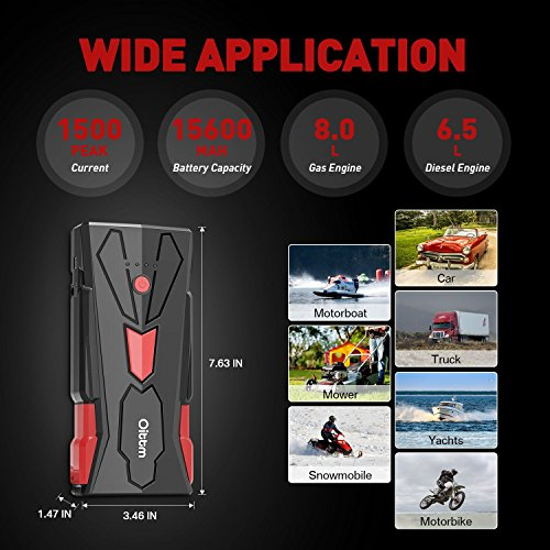 Car Jump Starter, Oittm 1500A Peak Current 15600mAh Car Battery Booster(Up to 8.0L Gas and 6.5L Diesel Engine) Power Bank Portable Charger w/ USB Charge+Quick Charge 3.0+Type-C+12V DC Output+LED Light by Oittm (Image #3)