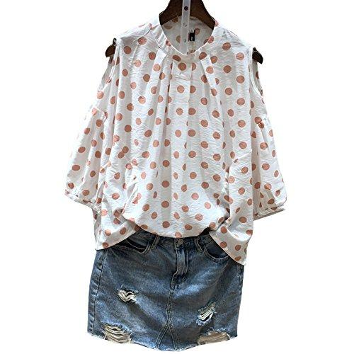 Xmy épaules lâches manches courtes T-shirt tête manchon filles sauvages des vêtements d'été pour l'épaule.
