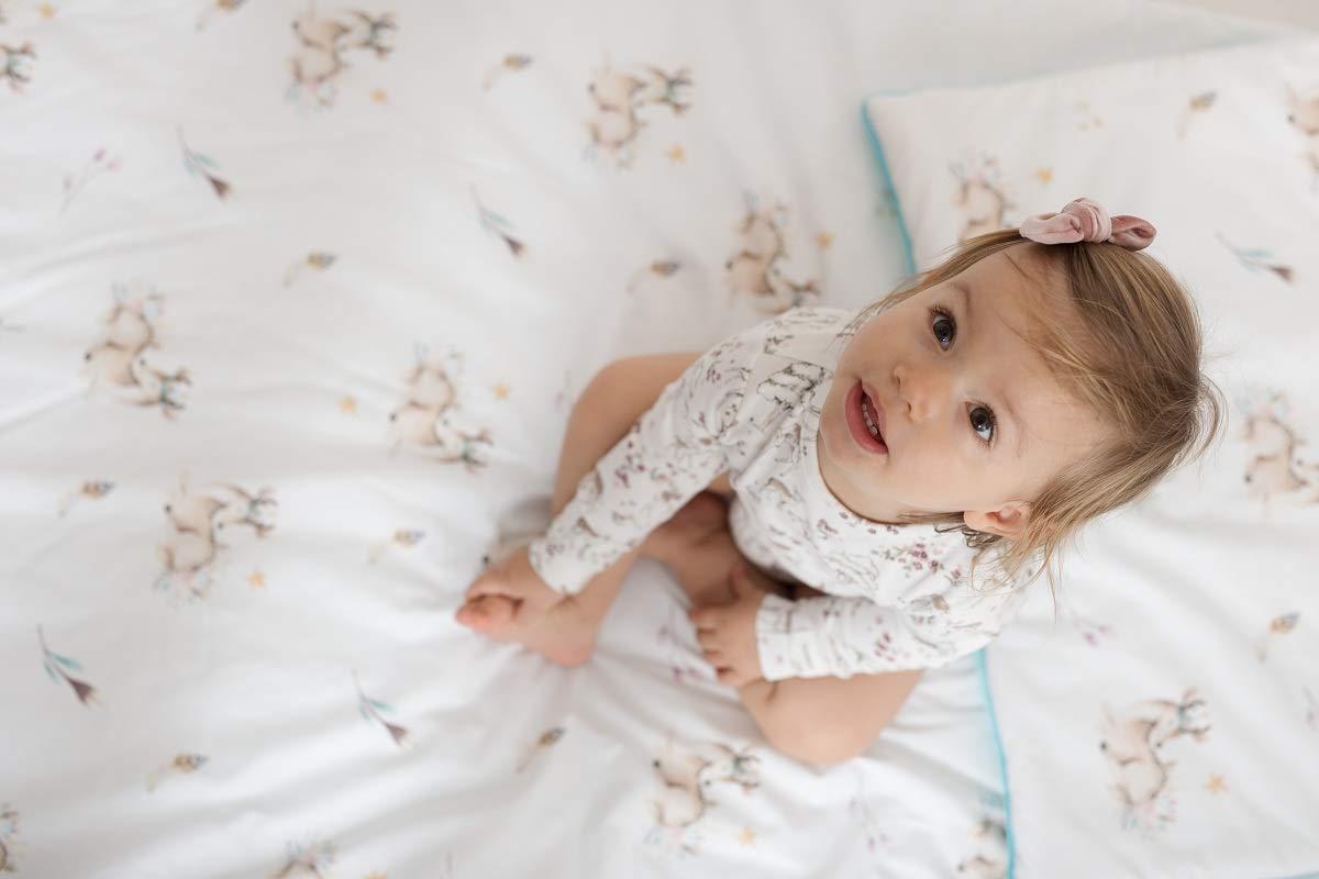 Sango Trade Bettdecke und Kissenbezug Set Baby Bettw/äsche 120x90 Waldhirsch