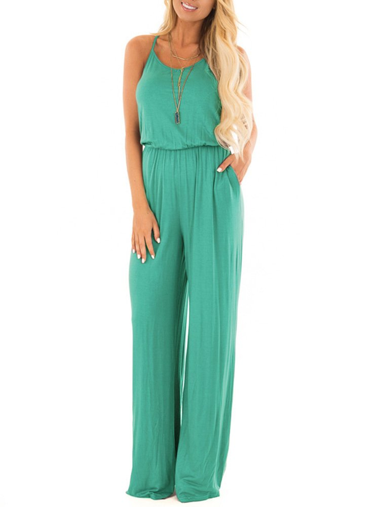 Women Summer Casual Loose Spaghetti Strap Sleeveless Open Back Wide Leg Long Pants Romper Jumpsuits Aqua Green Medium