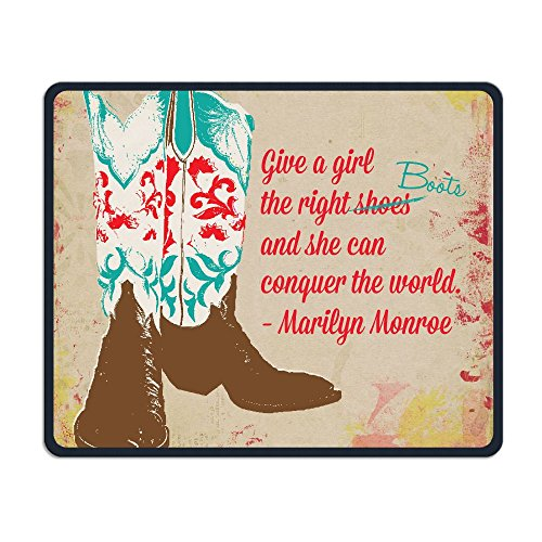 Mouse Pad Western Cowgirl Shoes Rectangle Rubber Mousepad Length 8.66 Width 7.09 inch Gaming Mouse Pad with Black Lock -