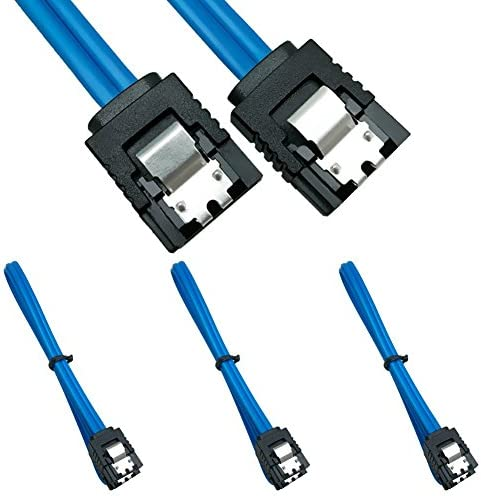 6 Pack 90 Degree Right-Angle SATA III Cable 50 cm J/&D SATA III 6.0 Gbps Cable with Locking Latch