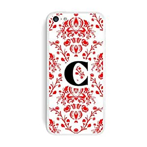 Graphics and More Letter C Initial Damask Elegant Red Black White Protective Skin Sticker Case for Apple iPhone 6 plus 5.5 - Set of 2 - Non-Retail Packaging - Opaque