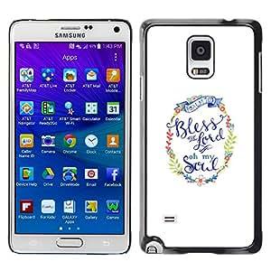 X-ray Impreso colorido protector duro espalda Funda piel de Shell para Samsung Galaxy Note 4 IV / SM-N910F / SM-N910K / SM-N910C / SM-N910W8 / SM-N910U / SM-N910G - You God Minimalist White Text