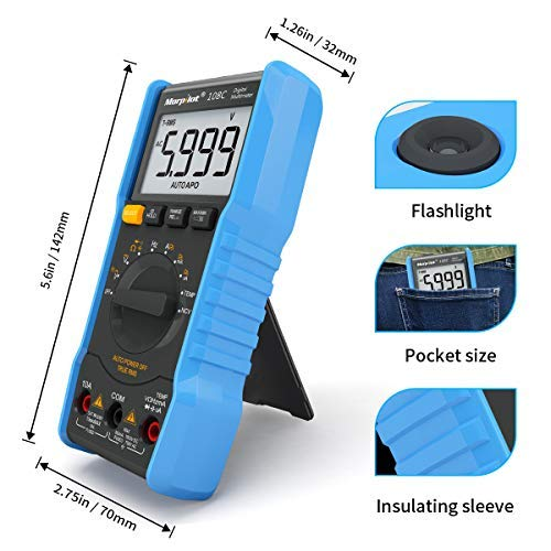 20% Off Digital Multimeter,TRMS 6000 Counts Manual and Auto Ranging;Pocket Size Flashlight Measures Voltage Tester,Current,Resistance,Continuity,Frequency;Tests Diodes,Transistors,Temperature