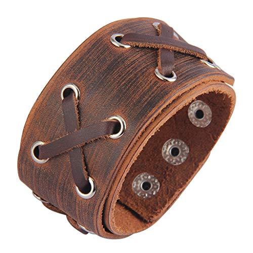 (AZORA Punk Leather Cuff Bracelet Adjustable Wide Leather Belt Bracelets Arm Cuff Gothic Leather Wristbands Rock Jewelry for Men, Boy, Women)