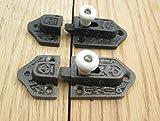 IRONMONGERY WORLD? OLD VINTAGE GOTHIC TUDOR CAST IRON FLAT SLIDING CABINET SHOWCASE DOOR CUPBOARD BOLT LOCK LATCH CATCH (BLACK ANTIQUE & CERAMIC WHITE) by Ironmongery World