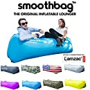Inflatable Lounger and Indoor Outdoor Sofa: Lazybag Air Lounge Chair with Built-In Headrest | Banana Sleeping Bag, Hammock, Pool Float, Portable Camp Seat, Lazy Hangout Couch Bed (Blue)