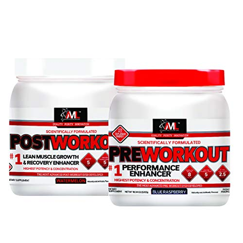 Advanced Molecular Labs - Pre/Post Workout Stack, Blue Raspberry and Watermelon, Performance Enhancer and Recovery Enhancer, 18.34 oz and 12.3 oz