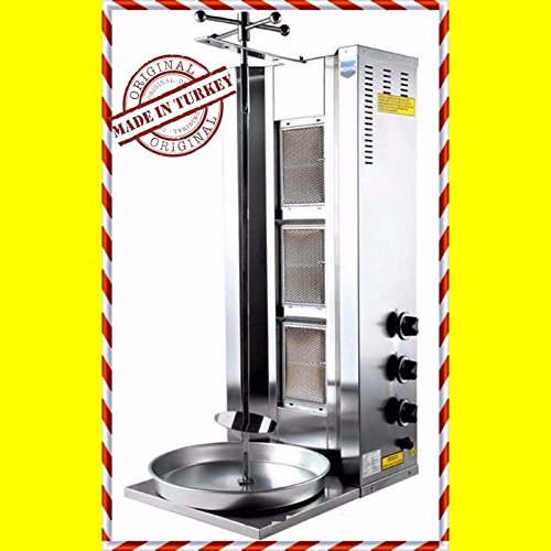 Gyro Broiler - Full Set Meat Capacity 35 kg / 77 lbs. 3 Burner Works with Propane Gas Spinning Grills Vertical Broiler Shawarma Gyro Doner Kebab Tacos Al Pastor Grill Machine Commercial Industrial or for Home use