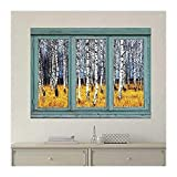 wall26 Vintage Teal Window Looking Out Into a an Aspen Tree Forest During Fall Time - Wall Mural, Removable Sticker, Home Decor - 24x32 inches