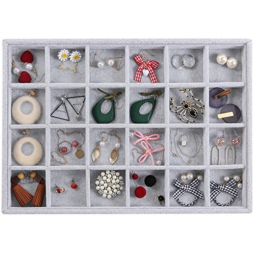 Valdler Velvet 24 Grid Jewelry Tray Stackable Showcase Display Drawer Oganizer Storage
