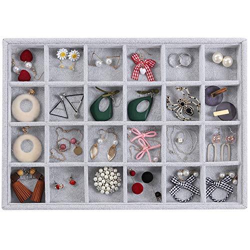 Valdler Velvet 24 Grid Jewelry Tray Stackable Showcase Display Drawer Oganizer Storage -
