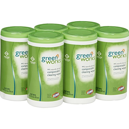 Green Works COX30380CT Cleaning Wipes, 62 Wet Wipes, (Pack of 6)