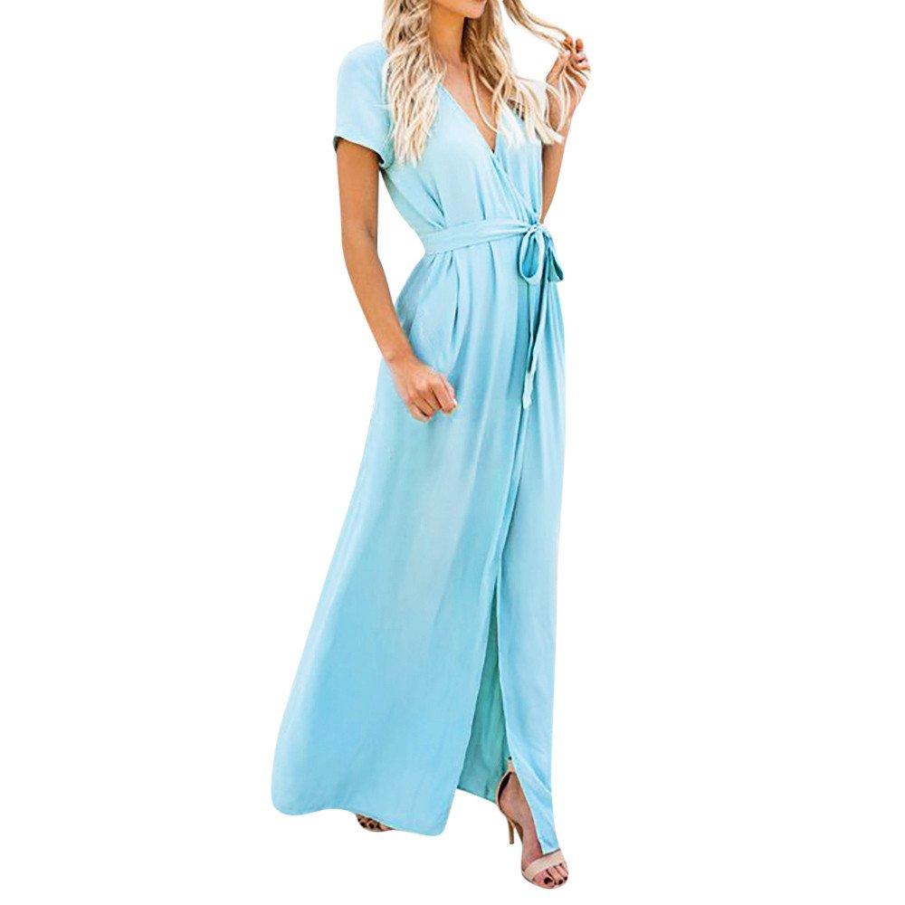 Vickyleb Women Maxi Dress Sexy Short Sleeve Dress Deep V Neck Dresses for Women Formal Elegant Shirt Dresses Blue