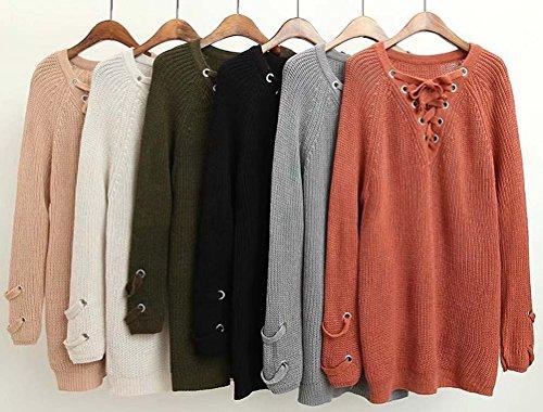 Noir Sweaters Grande Grosse Synthetic Col Longue Veste Tops Manche Tricots Hiver Femme Feminin Maille Sweater V Manteau Pull Chandail Taille Femme Coton Automne SxpqB78