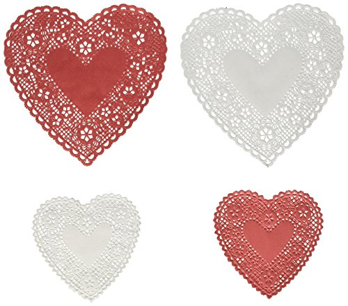 Hygloss Products Heart Doilies - Assorted Sizes White And Red Paper Doily, Made In USA, 96 -