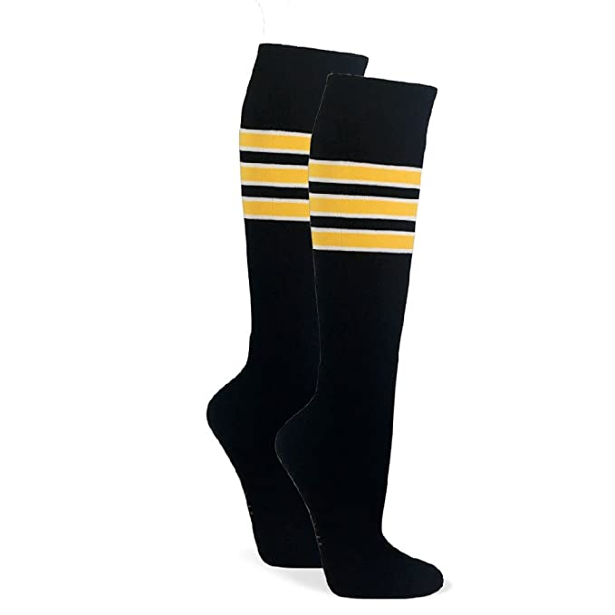 e8081e773 Amazon.com  Couver Premium Like Pirates Similiar Style Striped Knee High  Sport Socks  Clothing