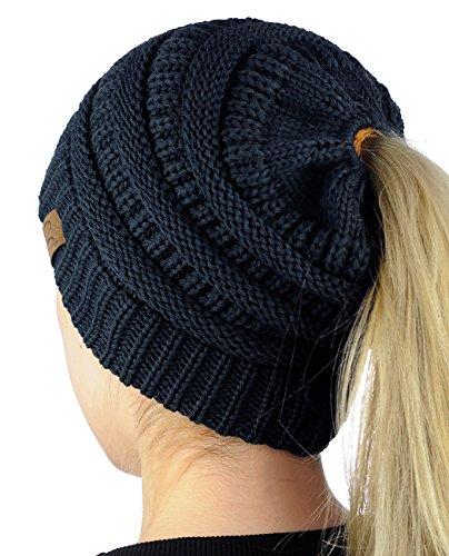 CC BeanieTail CONFETTI Soft Stretch Cable Knit Messy High Bun Ponytail Beanie