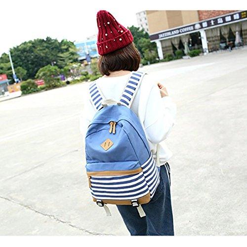 Fashion Mädchen Schulrucksack Damen Canvas Rucksack Teenager Baumwollstoff Streifen Schultasche Daypacks für Universität Outdoor Freizeit (Schwarz) Hellblau 7bNRhpo