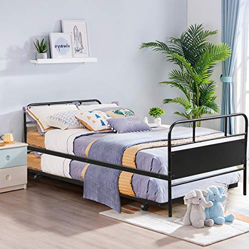 Check Out This Giantex Twin Daybed and Trundle Frame Set, Trundle Day Bed with 2 Headboard, Premium ...