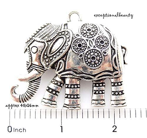 Pendant Jewelry Making Antiqued Tibetan Silver 56mm Fancy Textured Elephant Bead Drop Focal ()