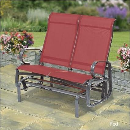Fantastic Boston Twin Seat Glider Aluminium Bench Red Amazon Co Uk Creativecarmelina Interior Chair Design Creativecarmelinacom