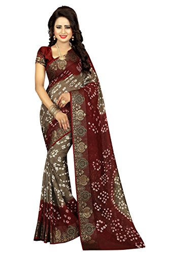 (Divine International Women's Traditional Art Silk Fabric Darpan Border Bandhani Sarees)