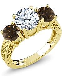 2.32 Ct White Topaz Brown Smoky Quartz 18K Yellow Gold Plated Silver 3-Stone Ring