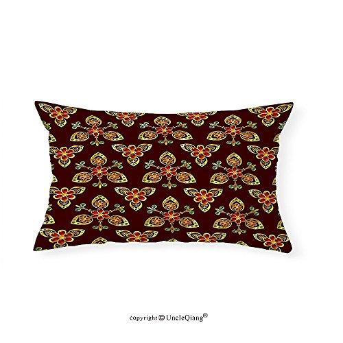VROSELV Custom pillowcasesAntique Classical Floral Arabesque Islamic Pattern in Vibrant Colors Artsy Image for Bedroom Living Room Dorm Gold Chestnut Brown(16''x20'') by VROSELV