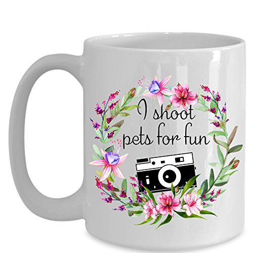 Pet Photographer Funny Gifts - I Shoot Pets For Fun - Retro Camera Floral Wreath Mugs - Funny Coffee Mug Tea Cup - Father's Day, Birthday- Ceramic White (15 oz.)