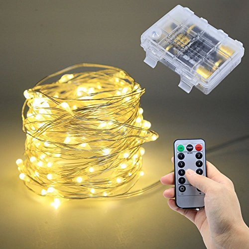 Lezoey Battery Fairy Lights 33Fft 100leds 8 Modes Waterproof Battery Powered Led Starry String Lights With Remote Control Indoor and Outdoor Xmas Party Home Decoration (Warm White) by Le Zoey