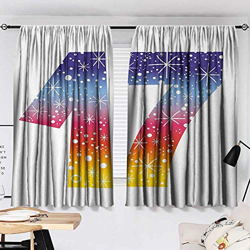 Jinguizi 17th Birthday Curtain Kitchen Window Rainbow Colored Seventeen Years Old Party with Fireworks Polka Dots Print Pattern Darkening Curtains Multicolor W55 x L39 by Jinguizi (Image #1)