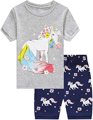 IF Family Pajamas for Girls Baby Summer Clothes Toddler Kids Horse PJs Short Sets -