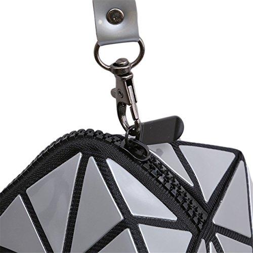 Lalang Silber 3D Folding Stil Geometrische Diamant Kosmetiktasche für Handtasche Damen Schminktasche Make- up Tool Bag Kulturbeutel Verfassungswerkzeug Aufbewahrungstasche RlwIMRx